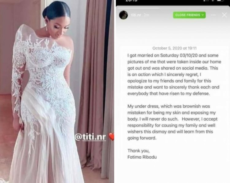 Fatima Nuhu Ribado The bride of Atiku Abubakar's son apologizes over her wedding dress